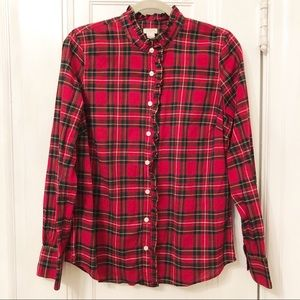 J. Crew holiday plaid ruffle collar button up